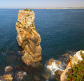 Water and rock in peniche portugal city Royalty Free Stock Images