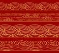 Water Sea waves set, ocean theme, fashion retro seamless horizontal pattern. Asian Chinese Japanese style for design. Royalty Free Stock Photo