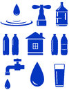 Water set of icon with house, faucet, drop, bottle Stock Photo