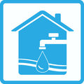 Water sign with tap, house and wave Royalty Free Stock Image