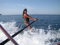 Water skiing fun portrait of a cheerful young girl Royalty Free Stock Photography