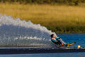Water Skiing Girl Carving Spray Stock Photos
