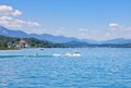 Water skiing worthersee austria on lake worth Royalty Free Stock Photography