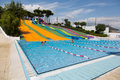 Water slide at waterpark in summer Royalty Free Stock Photo