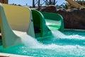 Water slides at aqua park Royalty Free Stock Photo
