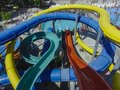 Water slides in aqua park Royalty Free Stock Photo