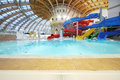 Water slides in waterpark caribia moscow june on june moscow russia perovo was opened Royalty Free Stock Photos