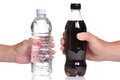 Water and soda bottled bottle of white background Stock Photo