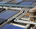 Water solar panels on roof Stock Images