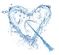 Water splash heart on white background isolated Stock Photo