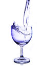 Water splash in high glass isolated on white background Royalty Free Stock Image
