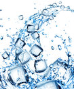 Water splash with ice cubes Stock Image