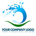 Water splash logo illustration drawing representing a wave Stock Images