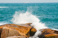 Water splash sea on big rocks Royalty Free Stock Photos