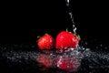 Water Splash on Strawberries Royalty Free Stock Photo
