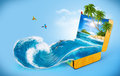 Water splash tropical background from suitcase traveling vacation Stock Image
