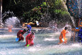 Water splashing festival the people splash each other in xishuangbanna in yunnan china Stock Photo