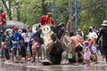 Water splashing festival in thailand ayutthaya apr revelers and elephants join during songkran on apr ayutthaya the Royalty Free Stock Photos