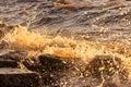 Water splashing rocks waves shore Royalty Free Stock Image