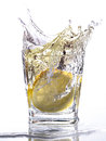Water splashing up a slice of lemon falls into a tumbler Stock Images