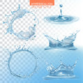 Water splashing vector set Royalty Free Stock Photo