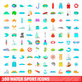 100 water sport icons set, cartoon style