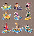 Water sport stickers Stock Photos