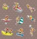 Water sport stickers Royalty Free Stock Photo