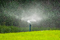 Water sprinkler in garden Royalty Free Stock Photo