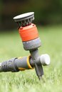 Water sprinkler in the garden colorful grass Stock Images
