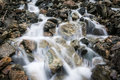 Water stream running over rocks in nature Royalty Free Stock Image