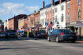 Water street in hallowell female purple sweater crosses maine Stock Image