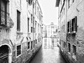 Water streets of venice monochromatic view along the wet venezian Stock Image