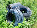 Water supply pipe in farmland Stock Image