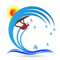 Water surfer vector drawing isolated in white background Stock Photography