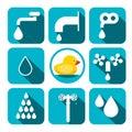 Water Symbols Set. Vector Aqua Icons in Squares. Royalty Free Stock Photo