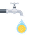 Water tap with coin inside water drop isolated on white