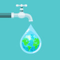 Water tap with the Earth globe inside water drop on blue
