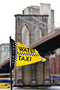Water Taxi Flag and Brooklyn Bridge Stock Image