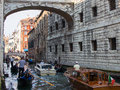 Water Taxis Under Bridge of Sighs, Venice Royalty Free Stock Photo