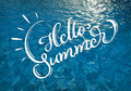 Water texture with solar patches of light and text Hello Summer. Calligraphy lettering Royalty Free Stock Photo