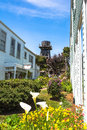 Water tower in mendocino california usa may view from a garden Stock Photography