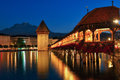 The famous Chapel Bridge and Water Tower in Lucerne, Switzerland