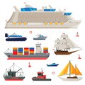 Water Transport Collection, Fishing Boat, Cruise Liner, Sailboat, Cargo Ship, Motorboat, Sea or Ocean Transportation
