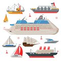 Water Transport Collection, Fishing Boat, Cruise Liner, Sailboat, Vintage Sailing Ship, Motorboat, Sea or Ocean