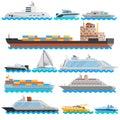 Water Transport Flat Decorative Icons Set Royalty Free Stock Photo