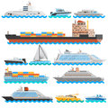 Water Transport Flat Decorative Icons Set Royalty Free Stock Photo