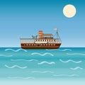 Water transport travel ship across sea river ocean.