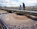 Water treatment sewage treatment plant walkway over aeration filters at a united kingdom Stock Images