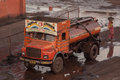 Water truck in a grimy coal port paradip india th january Royalty Free Stock Photography